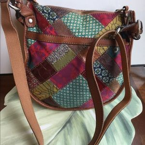 FOSSIL PATCHWORK BROWN LEATHER TRIM BAG